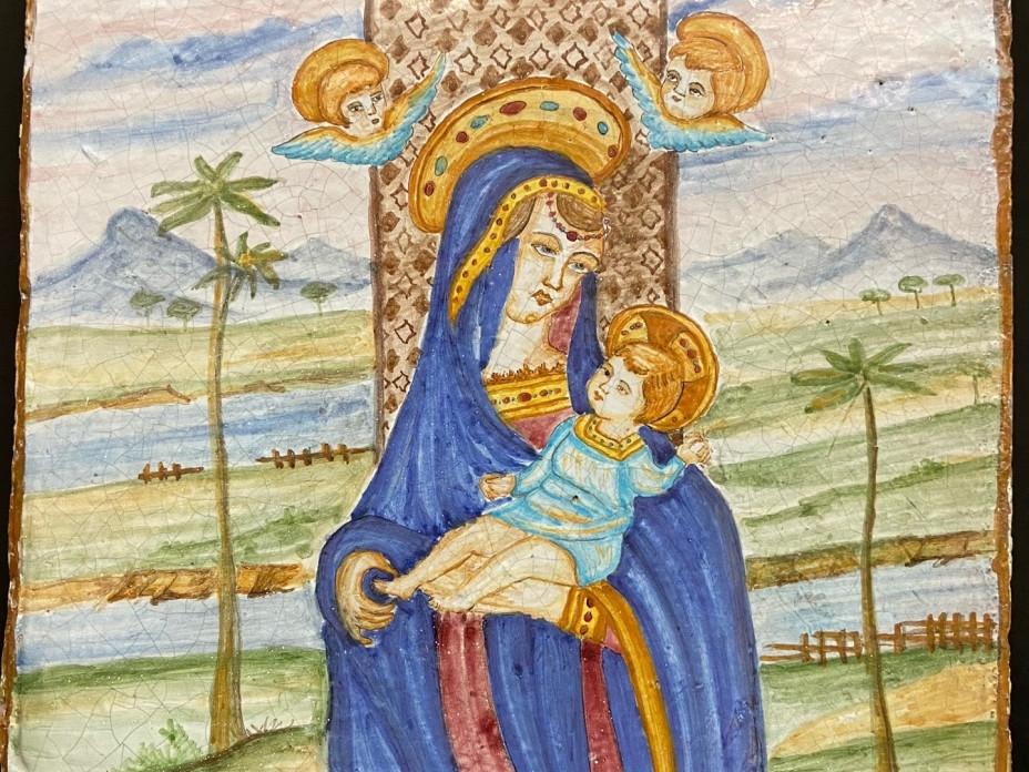 Mattonella in maiolica Madonna con Bambino del 900-Antichità Ioviero
