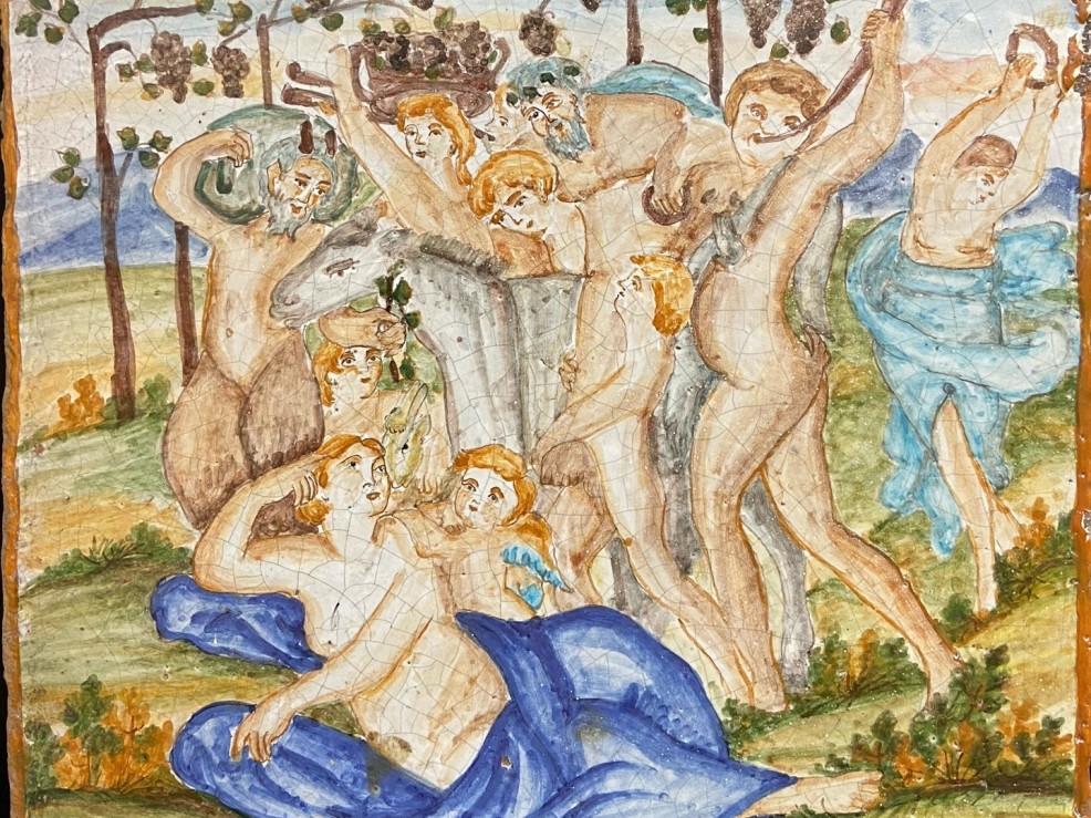 Maiolica di Scena Mitologica dei primi anni del 900- Antichità Ioviero