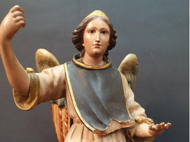 Scultura lignea policroma San Raffaele Arcangelo - Antichità Ioviero