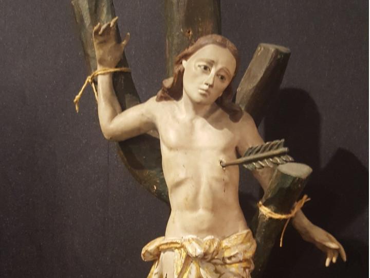 Scultura in legno policromo San Sebastiano - Antichità Ioviero