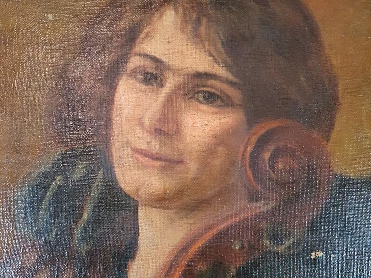 Dipinto di donna e violoncello - Antichità Ioviero