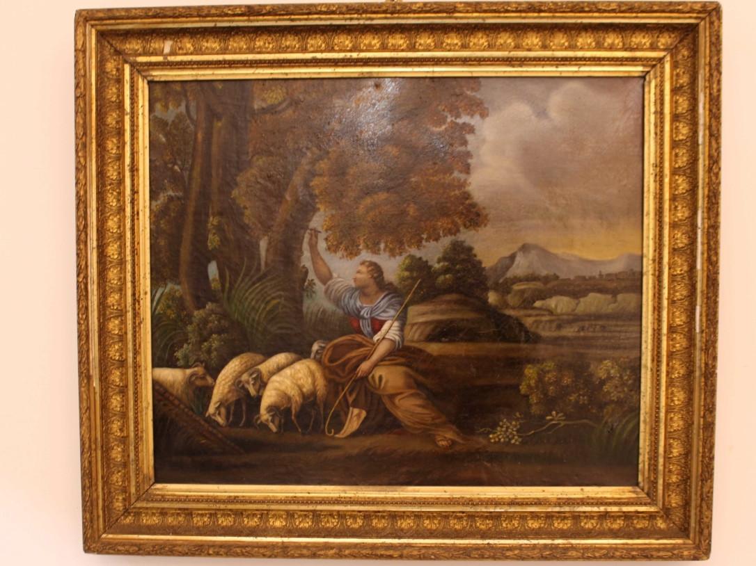 Dipinto olio su tela di Scena Campestre - Antichità Ioviero