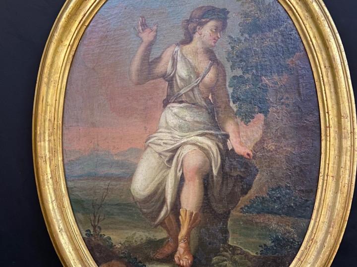 Dipinto olio su tela di figura mitologica - Antichità Ioviero