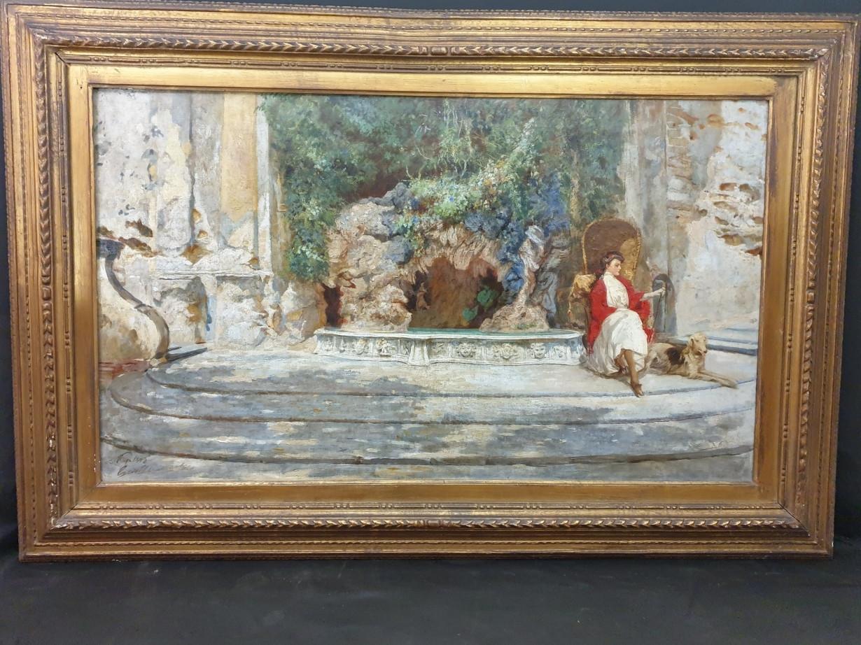 Momento di relax, dipinto del XIX secolo - Antichità Ioviero