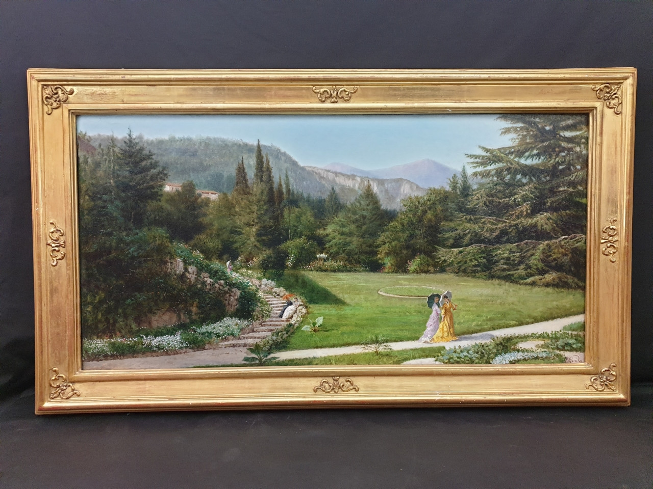 """Dipinto di Giovanni Guida """"Dame a passeggio"""" - Antichità Ioviero"""