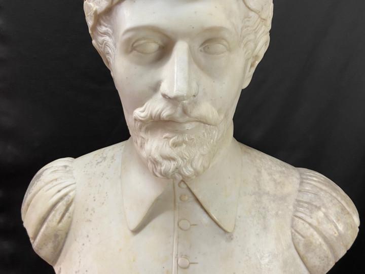 Scultura in marmo di Torquato Tasso del 800 - Antichità Ioviero