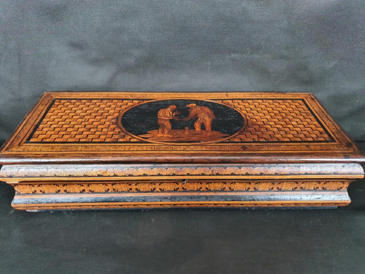 scatola-porta-guanti intarsio di Sorrento del 800 - Antichità Ioviero