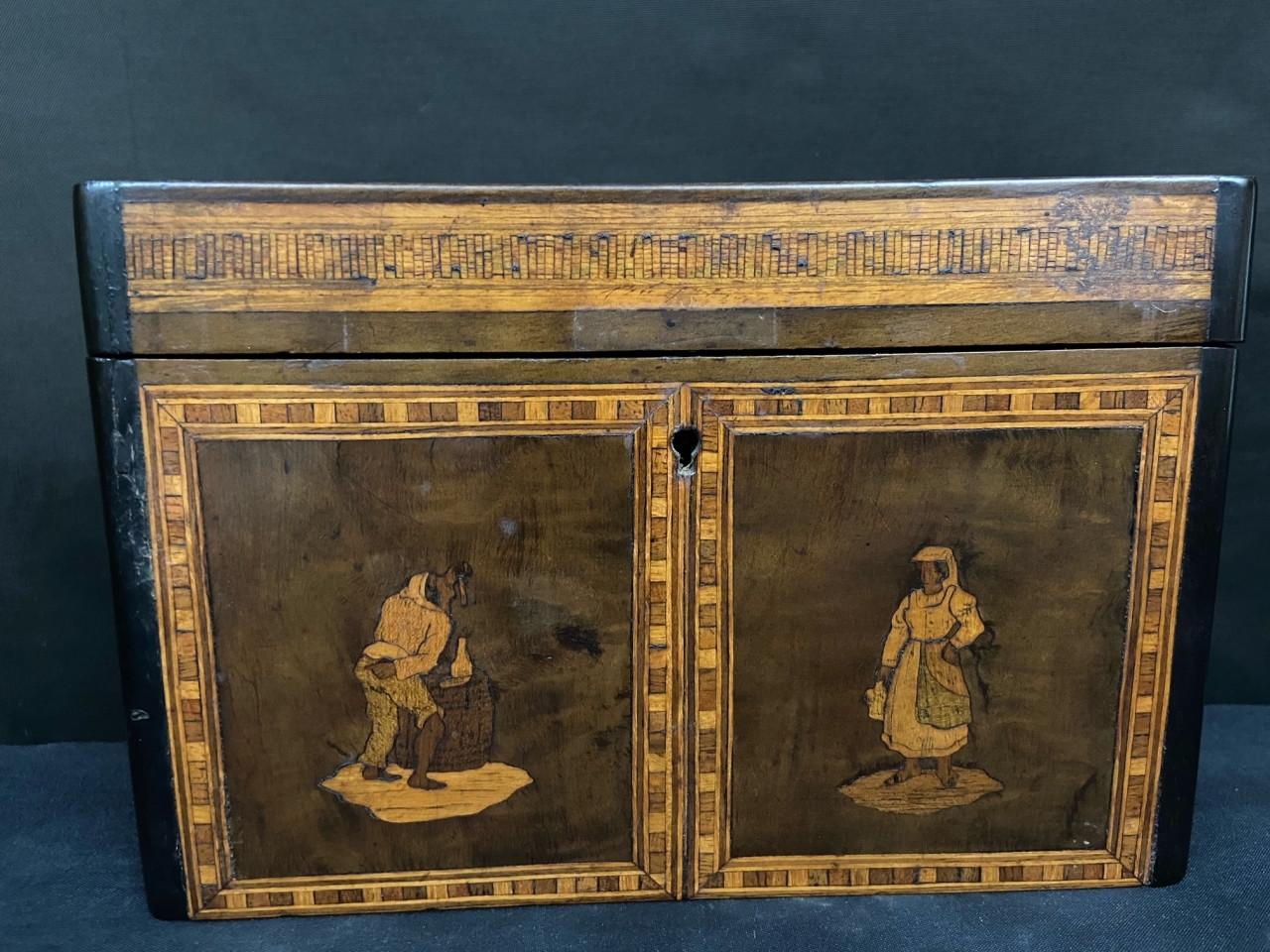 Scatola da te intarsiata in legno d'ulivo - Antichità Ioviero