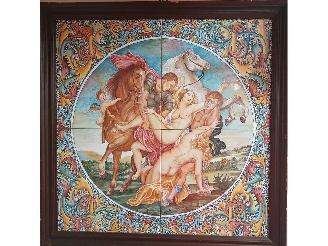 Dipinto su maiolica Il ratto delle Leucippidi - Antichità Ioviero