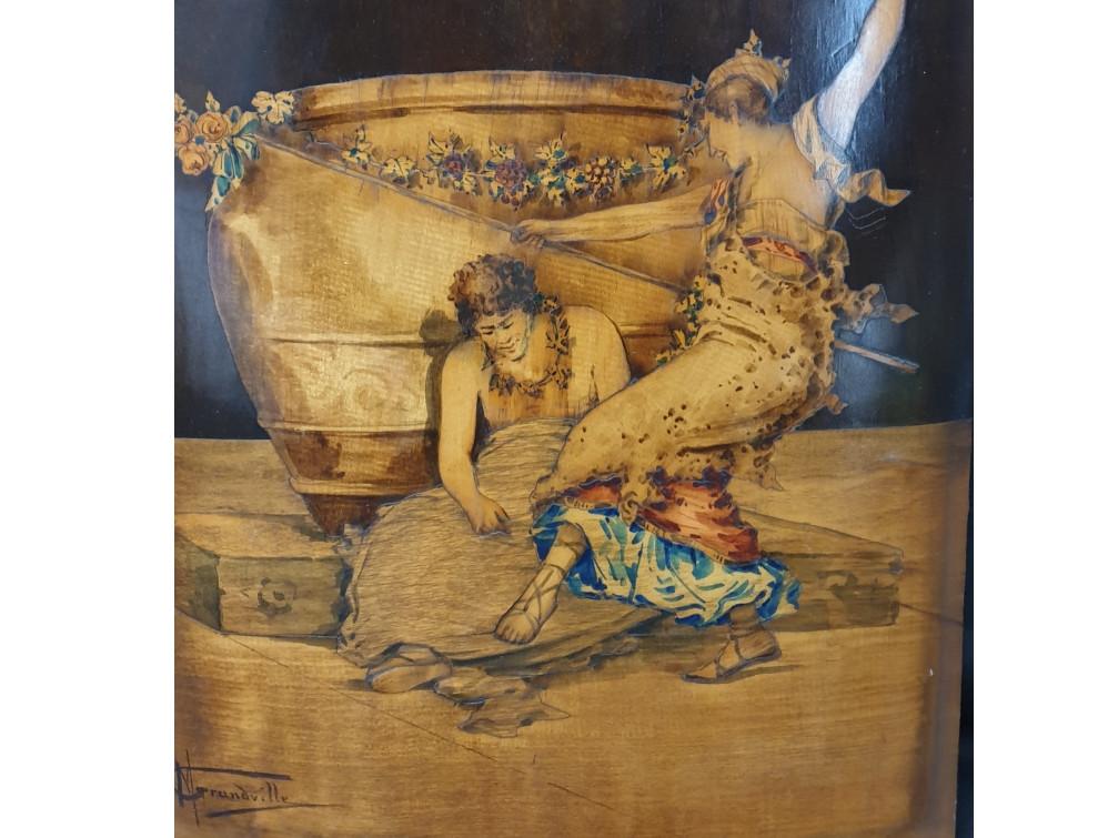 Pannello intarsiato firmato Grandville - Antichità Ioviero