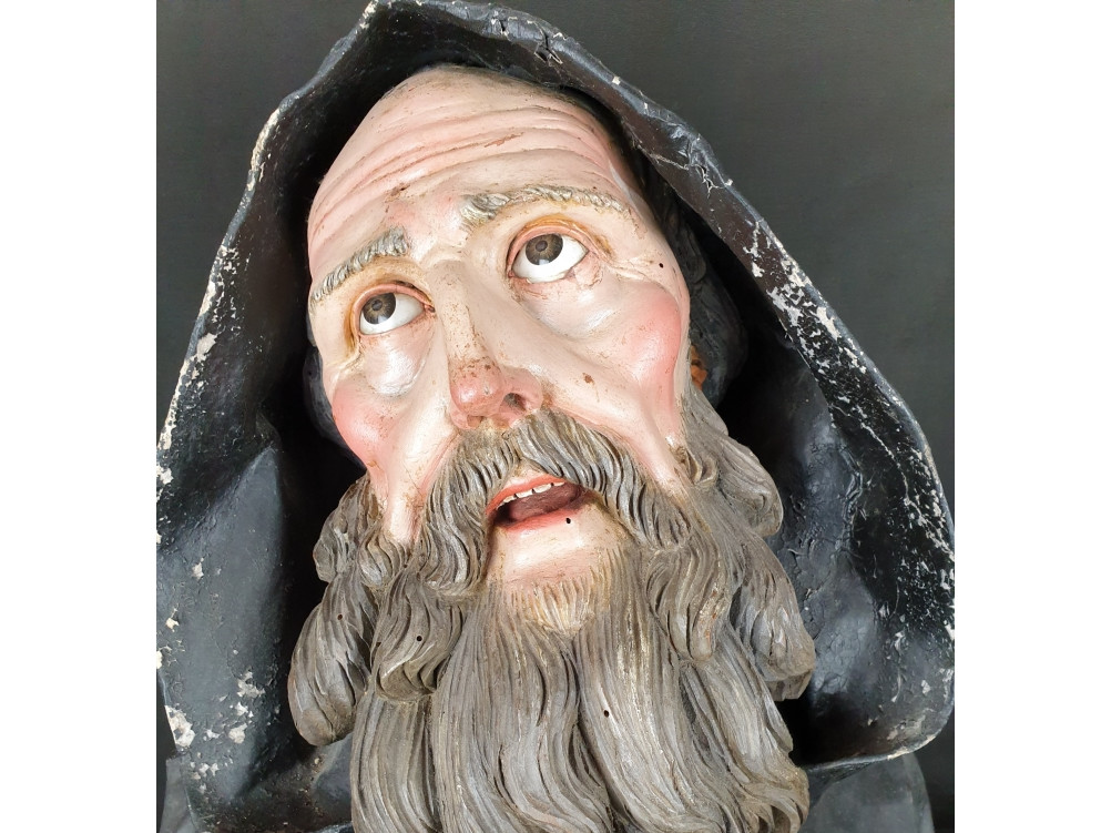 San Francesco da Paola scultura napoletana del 700 - Antichità Ioviero