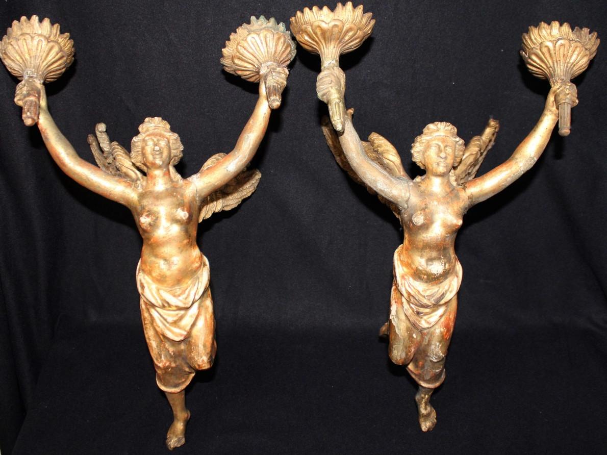 Coppia di appliques dorati stile Impero -Antichità Ioviero