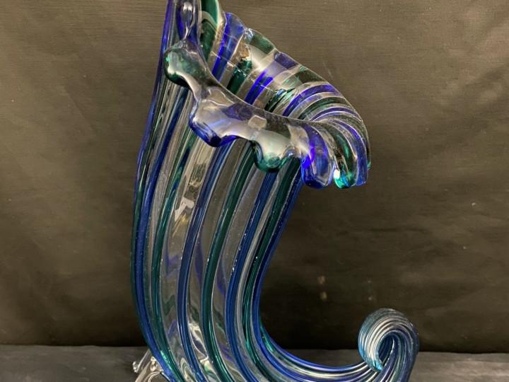 Vaso cornucopia in vetro soffiato firmato Nason -Antichità Ioviero