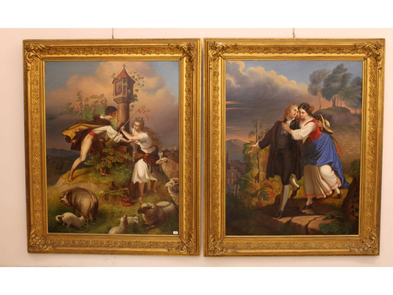 Coppia dipinti Scene Galanti -Antichità Ioviero