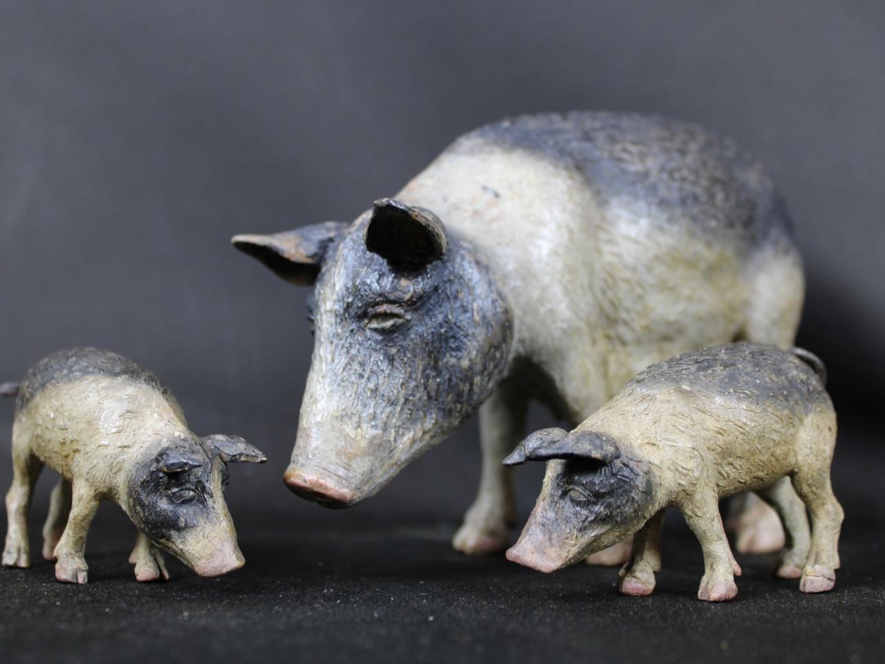 scrofa-maialini animali da presepe Napoli del 700 - Antichità Ioviero