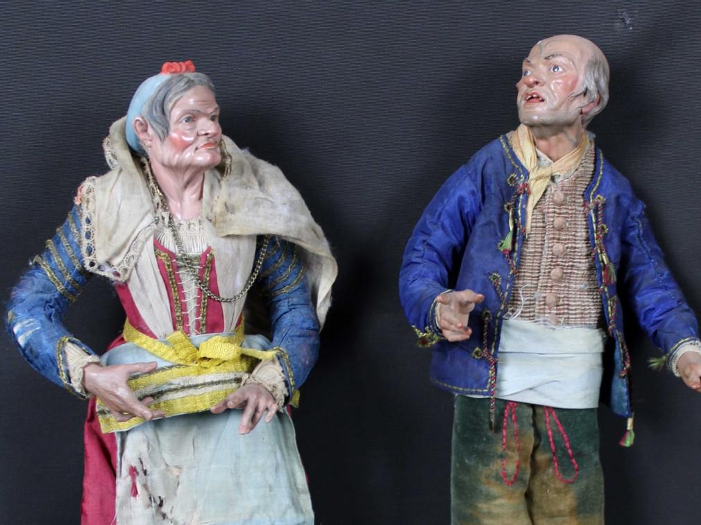 anziani-popolani da presepe di Napoli del 700- Antichità Ioviero