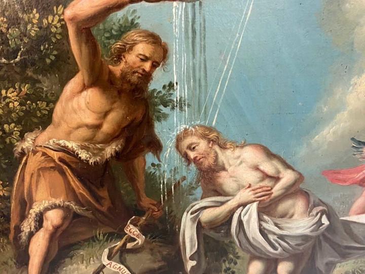 "Dipinto olio su tela ""Battesimo di Gesù"" -Antichità Ioviero"