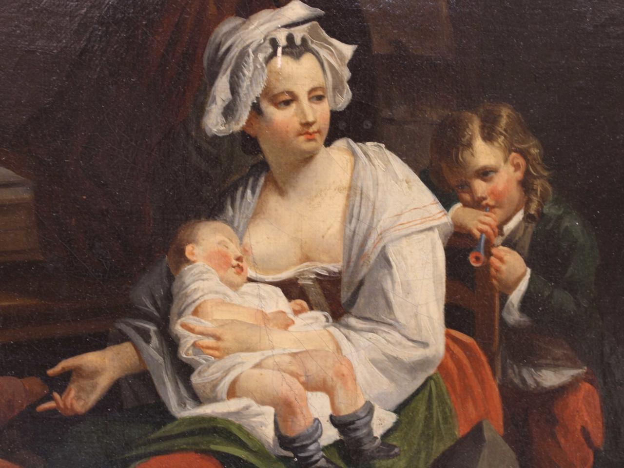 """Dipinto """"Scena di famiglia"""" - Antichità Ioviero"""